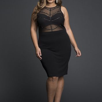 Black Viscose lycra Net sheer short Dress