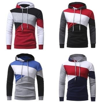 Hoodies for Men's 2018 Autumn Man Casual Sweatshirts Clothes Splice Color Stripe Hoody Tracksuit Hooded Fashion Male Clothing
