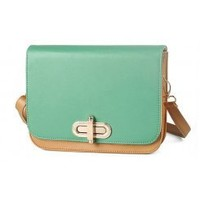 Wholesale 2012 new style fashion return to the ancients buckle contrast color lady bag SC-B1383 blue - Lovely Fashion