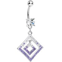 Clear Gem Double Clear and Purple Paved Diamond Dangle Belly Ring | Body Candy Body Jewelry