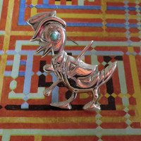 Art Deco Era Sterling Silver & Turquoise Figural Dancing Duck In Top Hat with Cane Brooch Pin, Marked STERLING MEXICO