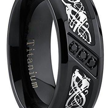 Black Titanium Wedding Ring Band with Dragon Design Over Carbon Fiber Inlay and Black Cubic Zirconia