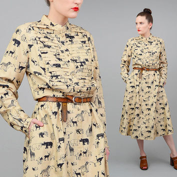 Vintage 70s STAR of SIAM Novelty Silk Screen Print Safari Animals 1970s Long Sleeve Midi Shirt Dress Tan Navy Blue Medium Large M L