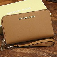 DCCK MK Micheal Kors Women Leather Zipper Wallet Purse Wrist Bag
