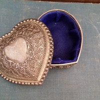 Vintage Ornate Silver Toned Heart Shaped Trinket Box With Royal Blue Velvet Lining Perfect for Jewelry Storage Gift Giving Proposal