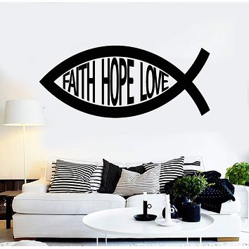 Vinyl Wall Decal Jesus Christ Sign Fish Faith Hope Love Stickers Unique Gift (ig3976)