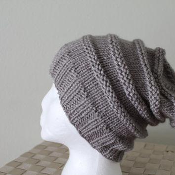 Knit Slouchy Hat - Beanie - Winter Toboggan Hat - Medium Grey - Men's or Women's