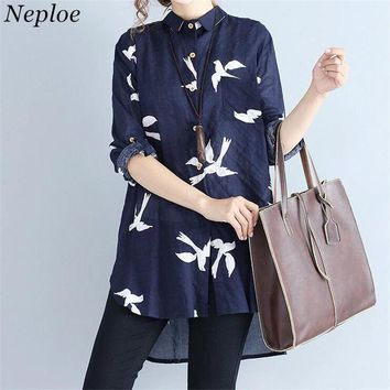Neploe Cotton Linen Blusas Female Long Shirt 2017 Long Sleeve Turn-down Collar Blouse Fashion Bird Print Vintage Shirts 34232