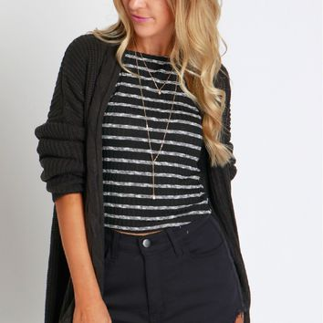 Cable Knit Cardigan Onyx