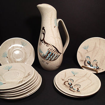 Vintage Red Wing Pottery Bob White pitcher, saucers, bread plates, turquoise & brown hand painted birds brown speckled glaze, mid century