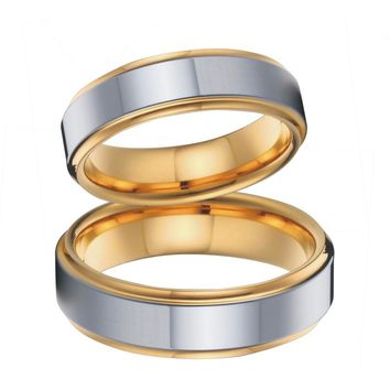gold colour wedding band couples rings set  for men and women titanium jewelry stainless steel ring USA size 5 to 15
