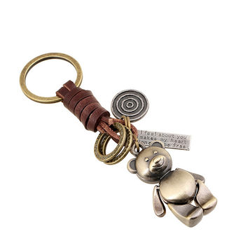 Keychain Creative Lovely Bear Retro Alloy Braided Leather Keychain