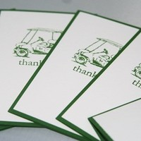 Golf Cart Thank You in Green Hand Made Stationery Set of Five