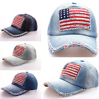 2016 New Fashion Women Jeans Denim Cap American Flag Rhinestone Baseball Bling Hat Adjustable New