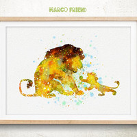 Simba, Lion King Disney - Watercolor, Art Print, Home Wall decor, Watercolor Print, Disney Poster