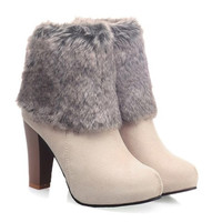 Off White High Heel Suede Boots With Faux Fur