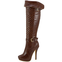 Womens Knee High Boots Quilted Front Buckle Accent Sexy High Heels Brown