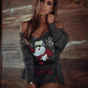 New Ugly Christmas Sweater Women Santa Claus Sexy V-neck Pullovers Knitting Jumper Tricot Long Sleeve Winter Clothes C80094