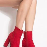 Red Faux Suede Platform Booties @ Cicihot. Booties spell style, so if you want to show what you're made of, pick up a pair. Have fun experimenting with all we have to offer!