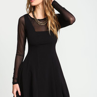 Black Sheer Mesh Flare Dress