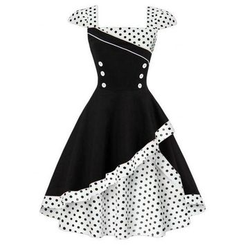 VONEY3C Women's Fashion High Waisted Polka Dot Double-layer Rockabilly Swing Dress