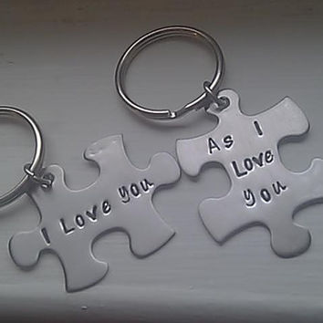 Personalized Hand Stamped Puzzle Piece Keychain Set - I Love You as I Love You - Stainless Steel