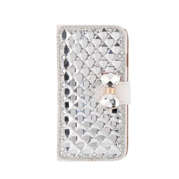 Fashion Flip PU Leather Bling Wallet Bowknot Rhinestone Diamond Protective Case Cover with Card Holder String for iPhone 6 4.7""