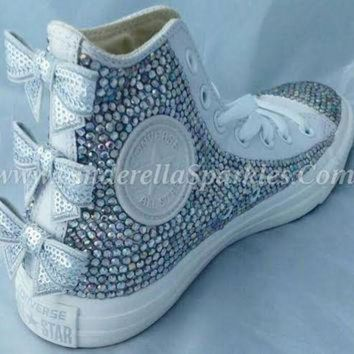 DCKL9 White Chuck Taylor High Top Crystal Rhinestone Converse with seuin bow - Mono leather
