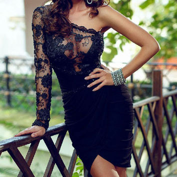 FLOWERS LACE BODYCON DRESS