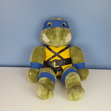 Vintage Ninja Turtles Plush Leonardo Doll Blue Ninja Turtle Vintage 90s TMNT 1990 Toys 1990s Kids 90s Kids Gift for Him Christmas Holiday