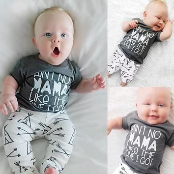 Summer Baby Girls Clothing Ain't No Mama Like The One I Got T-Shirt + Arrow Pants 2pcs bebe Boys Clothes outfit