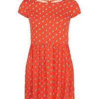Teens Orange Daisy Print T-Shirt Dress