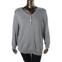 Karen Scott Womens Plus 100% Cotton Knit Henley Sweater