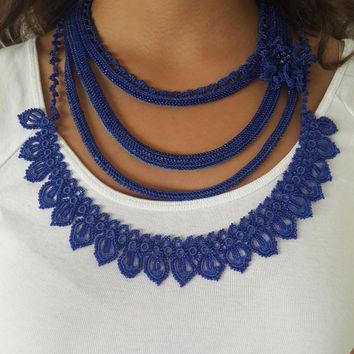 Blue Necklace-flowers -beaded crochet necklace,elegant necklace,crocheted lace necklace,freeform necklace,gift ideas,beadwork necklace