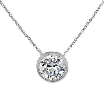 "Silver Solitaire Pendant Necklace .925 Sterling Silver Round Bezel 7mm Cubic Zirconia 16"" - 18"" FREE Box"