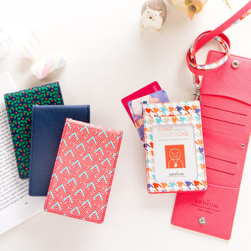 Ardium Colorful pattern bifold flat card case with neck strap