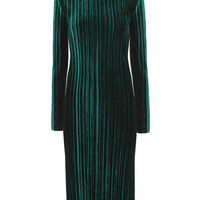 Dark Green High Neck Pleated Velvet Dress