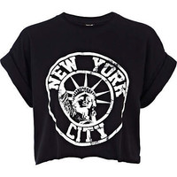 Black New York City print cropped t-shirt - crop t-shirts - t shirts / tanks / sweats - women