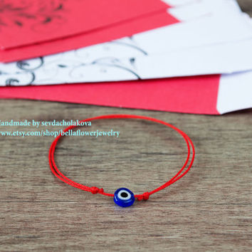 Blue Evil Eye Red String Kabbalah Bracelets. Women, Men, Baby, Child. Mati Nazar Protection. Good Luck Amulet, Talisman