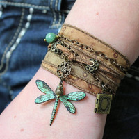 Dragonfly Ribbon Wrap Charm Bracelet With Weathered Verdigris Patina and Hand Dyed Golden Silk Ribbon