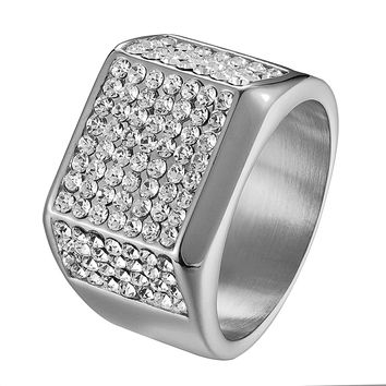 Hip Hop Wedding Engagement Ring Iced Out Stainless Steel Mens Bling Pinky Mens