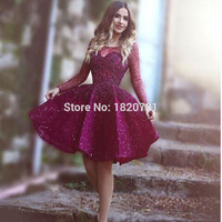 Luxury Short Engagement Party Dresses Shiny Sequins Beads Cocktail Dress Homecoming Dress Dark Plum Color Purple Long Sleeves