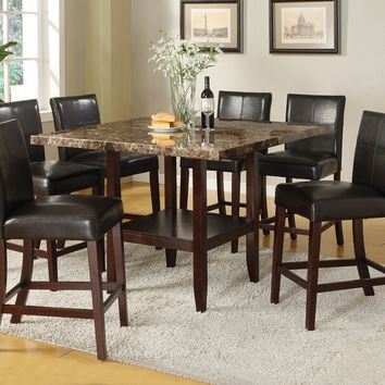 Acme 70355-57 7 pc idris ii faux marble top counter height pedestal dining table set
