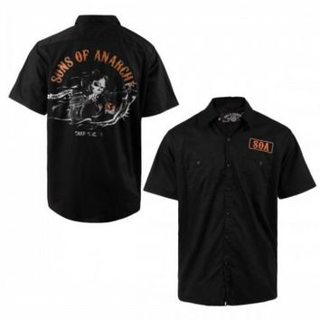 Sons of Anarchy SOA Orange Reaper with Gun Work Adult Black Button Up Workshirt - Sons of Anarchy - | TV Store Online