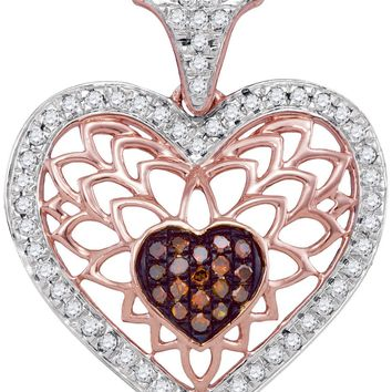 10kt Rose Gold Womens Round Red Colored Diamond Filigree Heart Love Pendant 1/4 Cttw