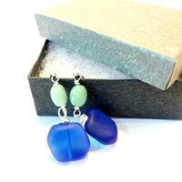Cobalt Blue Sea Glass and Green Aventurine Dangle Earrings