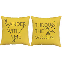 Wander With Me Pillow Covers and or Cushion Inserts - Adventure Pillows, Woodland Print, Through the Woods, His and Hers , Valentines Gift