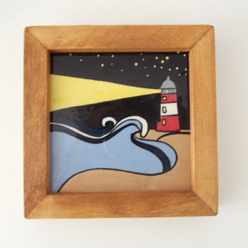 Ceramic Tile in Wood Frame Marine Art Lighthouse at Night Waves in the Sea, Stars in the Sky