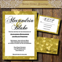 Gold Bokea Heart invitation suite Printable Wedding invitation suite Modern invite Shabby Chic invite Winter wedding