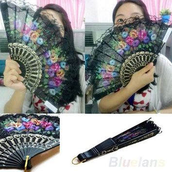Spanish Flower Floral Fabric Lace Folding Hand Dancing Wedding Party Decor Fan = 1946775748